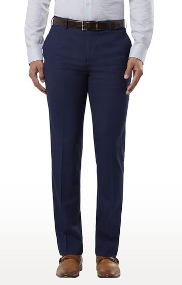 Raymond | Blue Flat Front Formal Trousers
