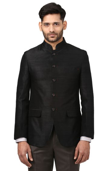 Raymond | Black Solid Ethnic Jacket