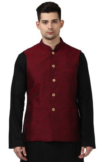 Raymond | Maroon Melange Ethnic Bundi Jacket