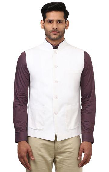 Raymond | White Solid Ethnic Bundi Jacket