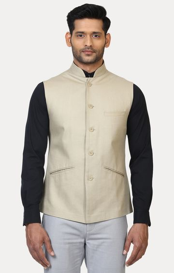 Raymond | Light Khaki Solid Ethnic Jacket