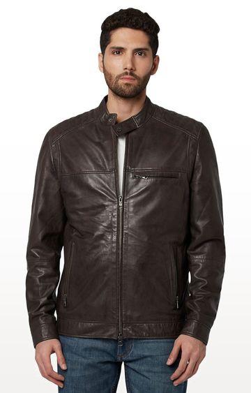 Park Avenue   Dark Brown Solid Leather Jacket