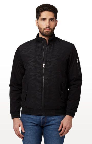 Park Avenue | Black Printed Bomber Jacket