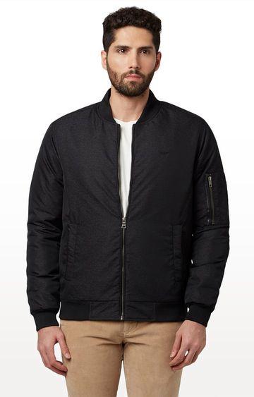 Park Avenue   Black Printed Bomber Jacket