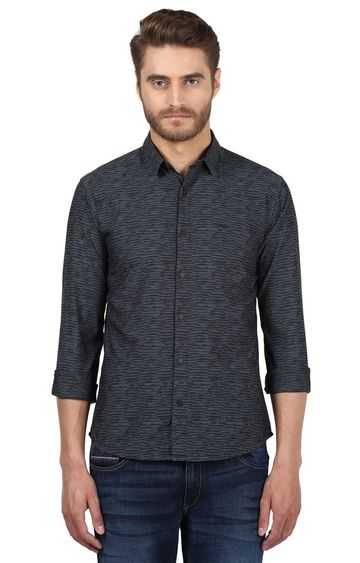 Park Avenue   Black Printed Casual Shirt