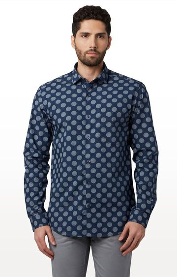 Park Avenue | Dark Blue Printed Casual Shirt