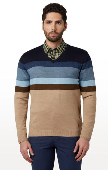 Park Avenue | Blue and Beige Striped Sweater