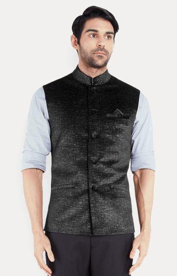 Park Avenue   Black Solid Ethnic Jacket
