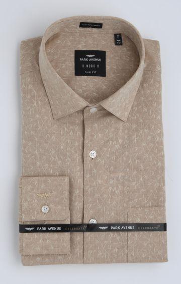 Park Avenue | Light Brown Printed Formal Shirt
