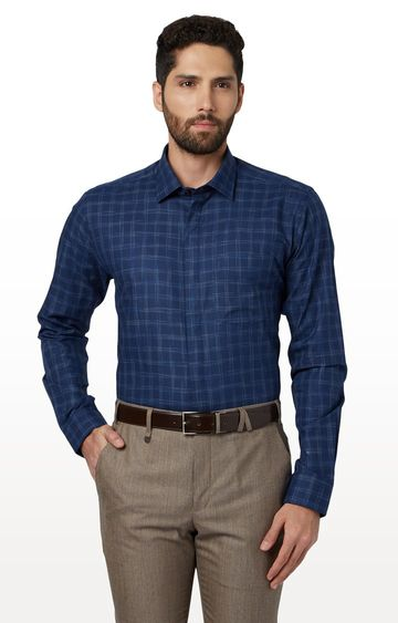 Park Avenue   Dark Blue Checked Formal Shirt