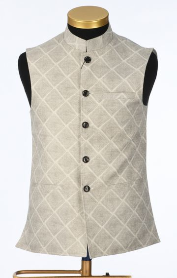 Park Avenue | Beige Checked Ethnic Jacket