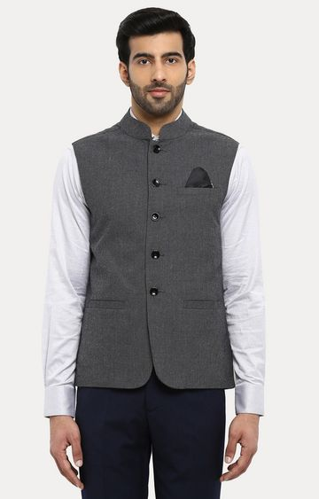 Park Avenue | Grey Melange Ethnic Jacket