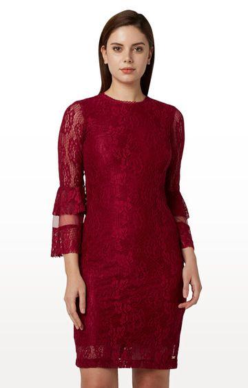 Park Avenue | Red Solid Sheath Dress