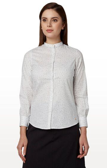 Park Avenue | White Printed Formal Shirt