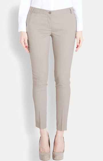 Park Avenue | Beige Straight Trousers