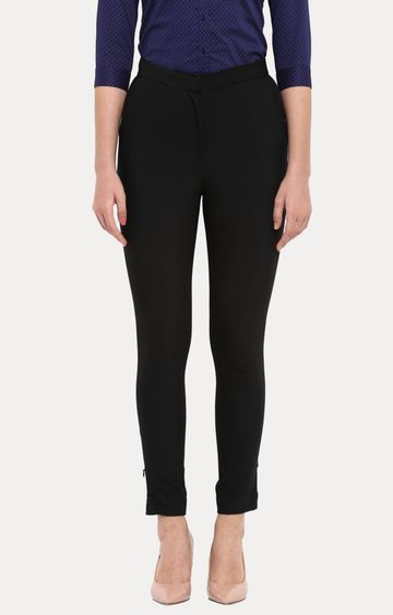 Park Avenue | Black Straight Trousers