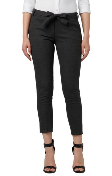 Park Avenue | Black Cropped Tapered Fit Trousers