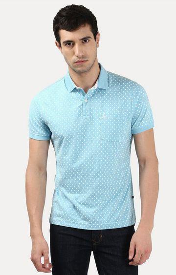 PARX | Blue Printed Polo T-Shirt