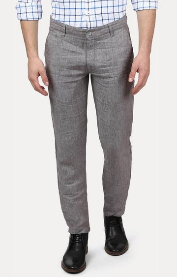 PARX | Grey Flat Front Formal Trousers