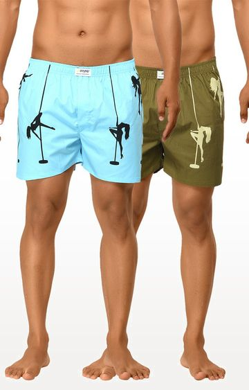 La Intimo | Light Blue and Military Brown Printed Boxers - Pack of 2