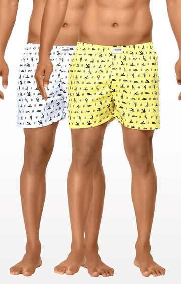 La Intimo | White and Yellow Printed Boxers - Pack of 2