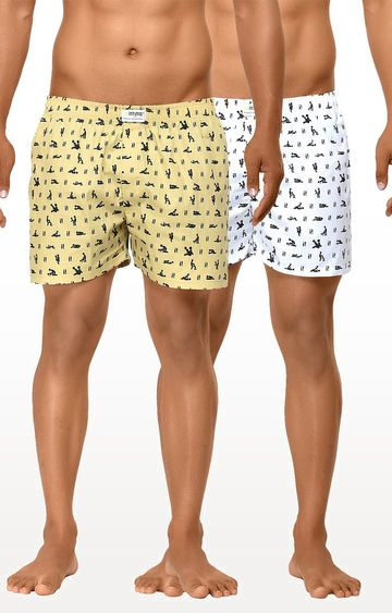 La Intimo | White and Fawn Printed Boxers - Pack of 2