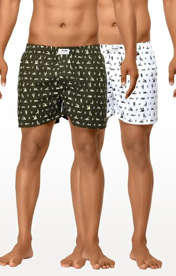 La Intimo | White and Olive Printed Boxers - Pack of 2