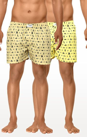 La Intimo | Yellow and Fawn Printed Boxers - Pack of 2