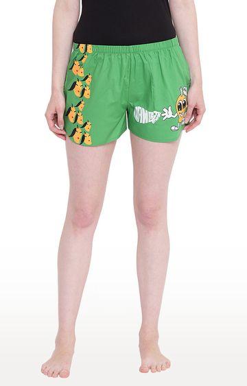 La Intimo | Green Printed Shorts