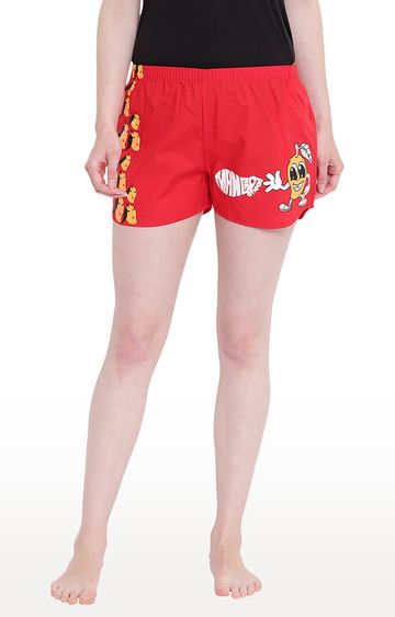 La Intimo   Red Printed Shorts