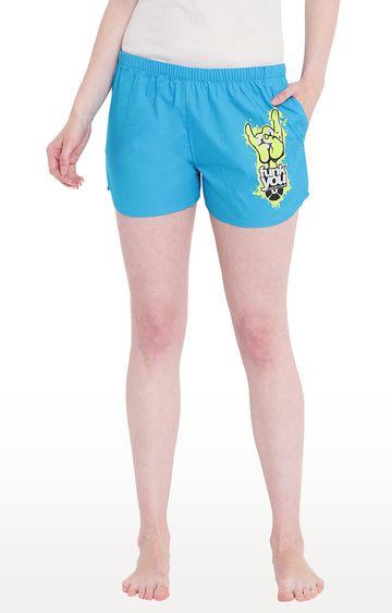 La Intimo | Royal Blue Printed Shorts