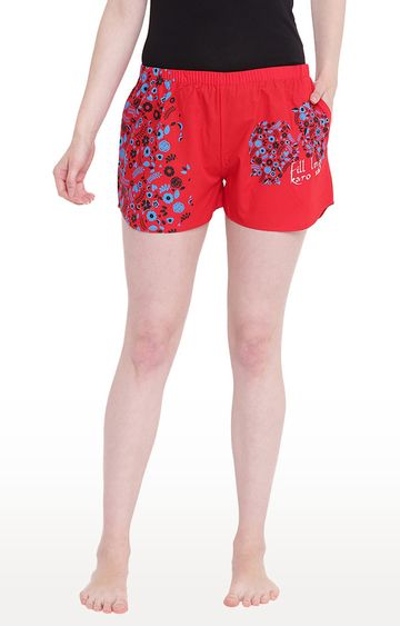 La Intimo | Red Printed Shorts