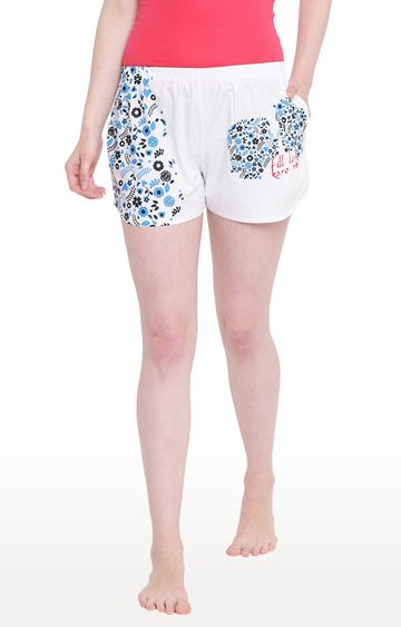 La Intimo | White Printed Shorts