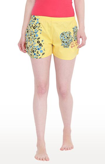 La Intimo | Yellow Printed Shorts