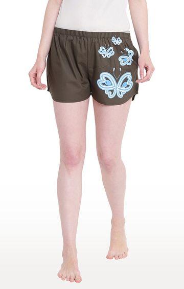 La Intimo | Olive Printed Shorts