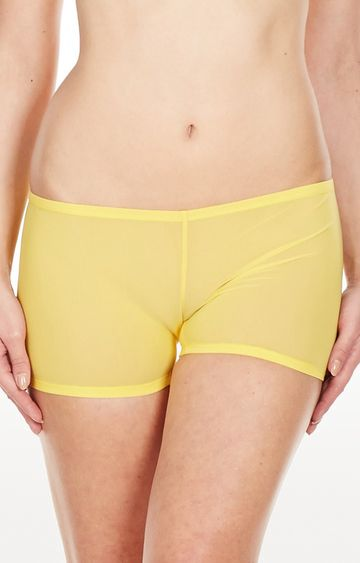 La Intimo | Yellow Mesh Comfy Sports Boyshorts