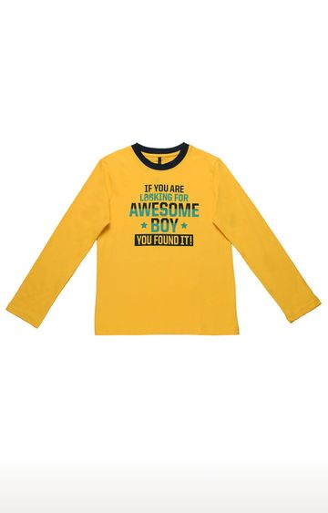United Colors of Benetton   Mustard Printed T-shirt