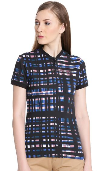 United Colors of Benetton | Black Checked T-Shirt