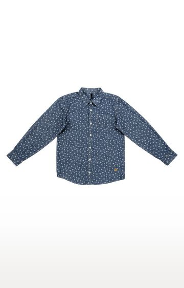 United Colors of Benetton | Grey and Blue Printed Shirt