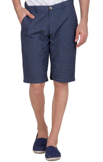 United Colors of Benetton | Blue Checked Regular Fit Shorts