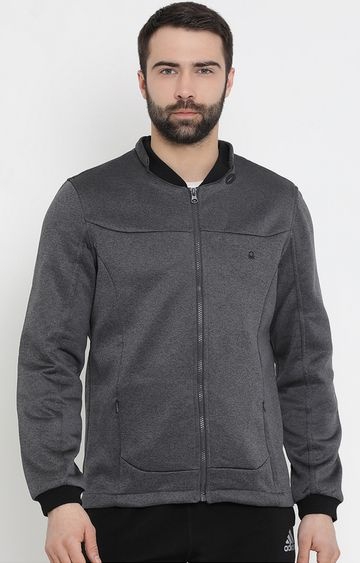 United Colors of Benetton | Grey Solid Bomber Jacket