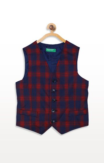 United Colors of Benetton | Navy & Red Checked Waistcoat