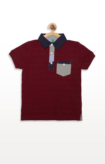 United Colors of Benetton | Wine Solid Polos T-shirt