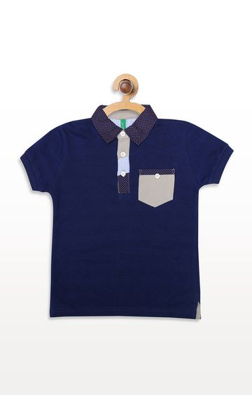 United Colors of Benetton | Blue Solid Polos T-Shirt