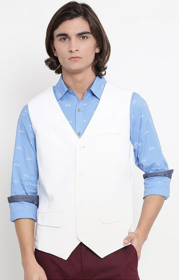 United Colors of Benetton | White Solid Waistcoat