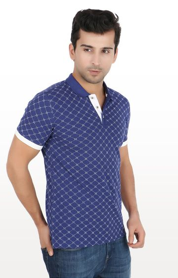United Colors of Benetton | Blue Printed Polo T-Shirt