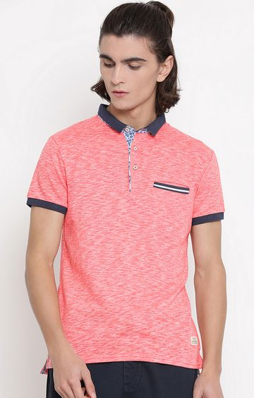 United Colors of Benetton   Pink Melange Polo T-Shirt