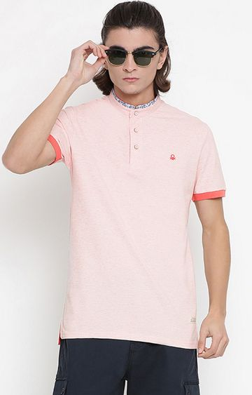 United Colors of Benetton | Pink Solid Polo T-Shirt