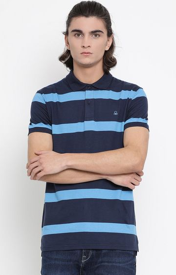 United Colors of Benetton | Blue Striped Polo T-Shirt