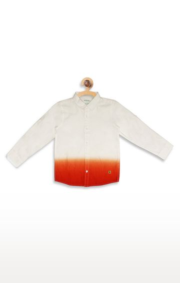 United Colors of Benetton | White and Orange Colourblock Shirt